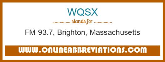 WQSX Meaning Of The Abbreviation Is